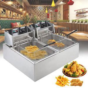 FRITEUSE ELECTRIQUE 10L+10L friteuse électriques en acier inoxydable D