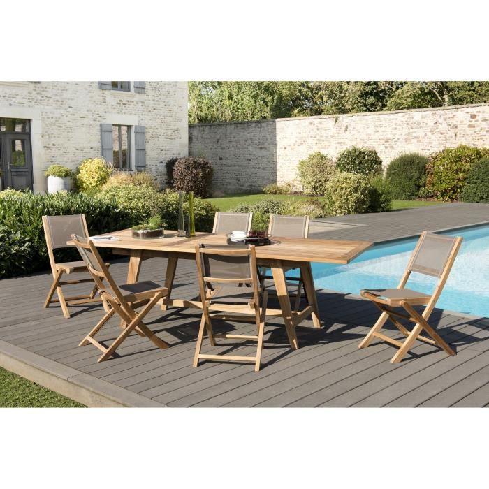 Ensemble de jardin en teck : 1 table rectangulaire scandinave, extensible, 180 / 240 x 100 cm - 3 lo