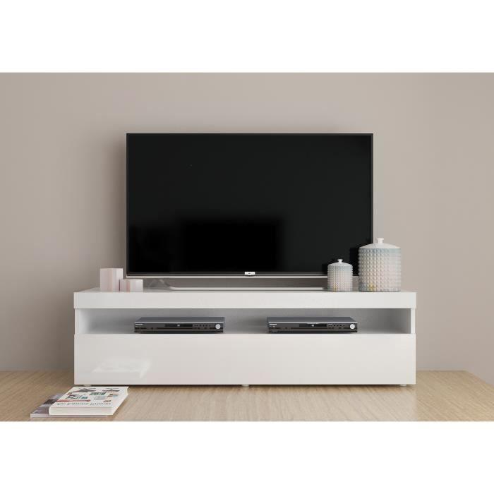 Panneaux de particules mélaminés laqué blanc - L 130 x P 40 x H 35 cm - 1 porte + 3 compartimentsMEUBLE TV - MEUBLE HI-FI