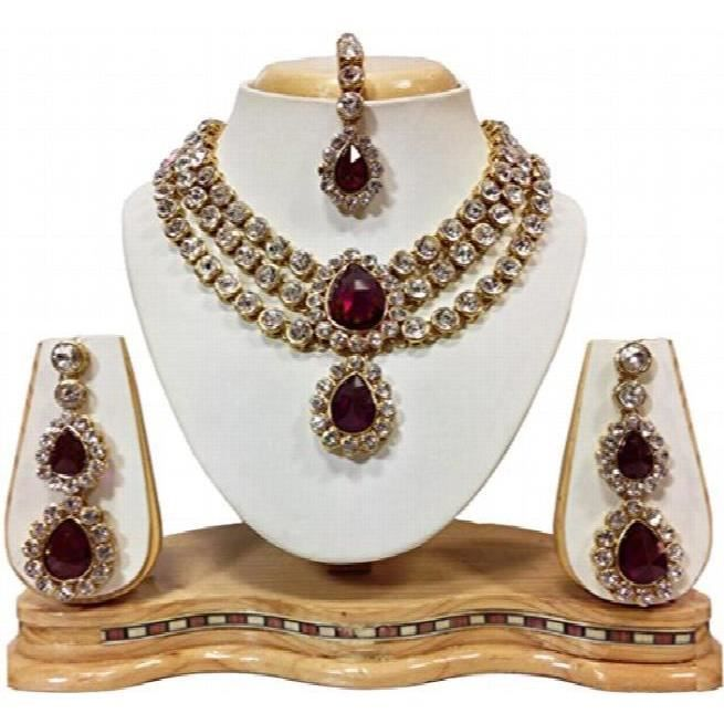 Womens Traditional Jewellery Red Crystal Maang Tikka Earrings Necklace Set ForCQZ0H