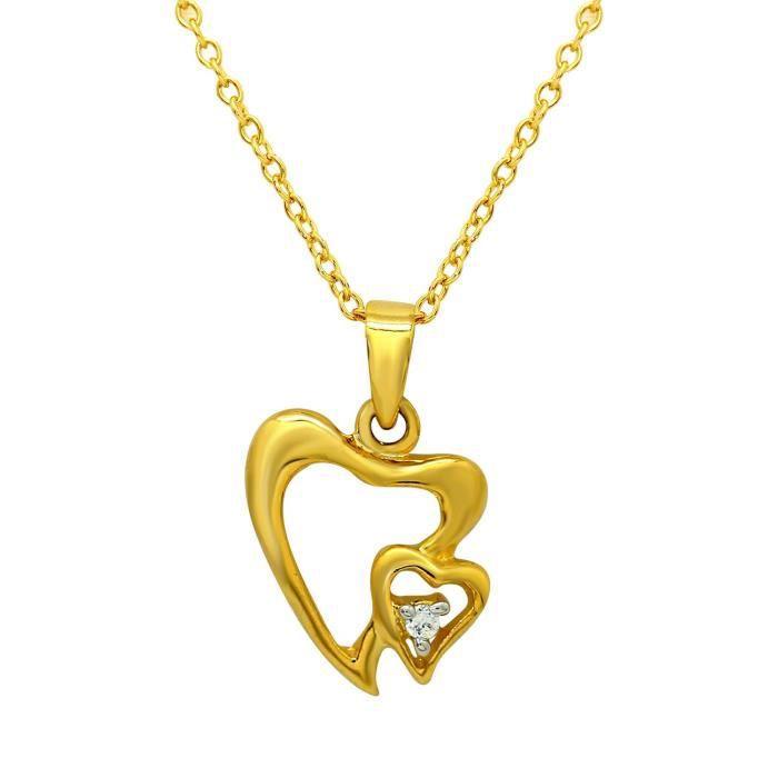 Femmes Coeur Cadeau Saint-Valentin Bouquet Of Love plaqué or avec pendentif Cz Pour Ps1101599g R5F2T