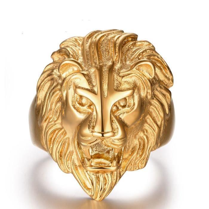 Lion crâne Plaqué or 18 carats personnalité bague Bijoux pour homme
