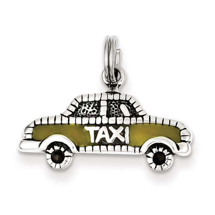 Argent Sterling charme de Taxi jaune émaillé