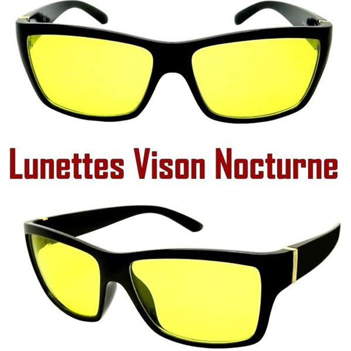 lunettes vision nocturne nuit verre jaune anti blouissement rectangle conduite achat vente. Black Bedroom Furniture Sets. Home Design Ideas