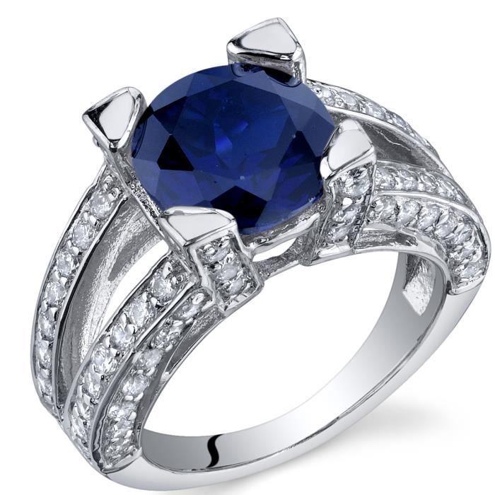 Bague - Femme -Argent- Saphir Bleu