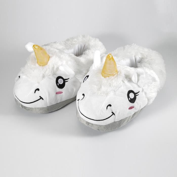 Une Paire de Chaussures CHAUSSONS blanches Peluche Licorne Unicorne pour Femme Fille Hiver Automne 7NE7n