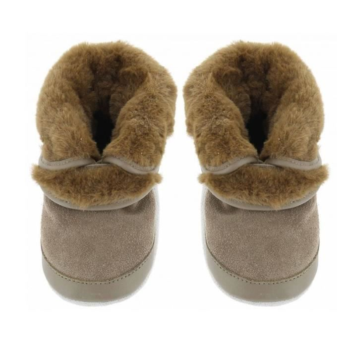 97e610ae7205f Chaussons cuir cosy boot Beige Fille - Achat   Vente chausson ...