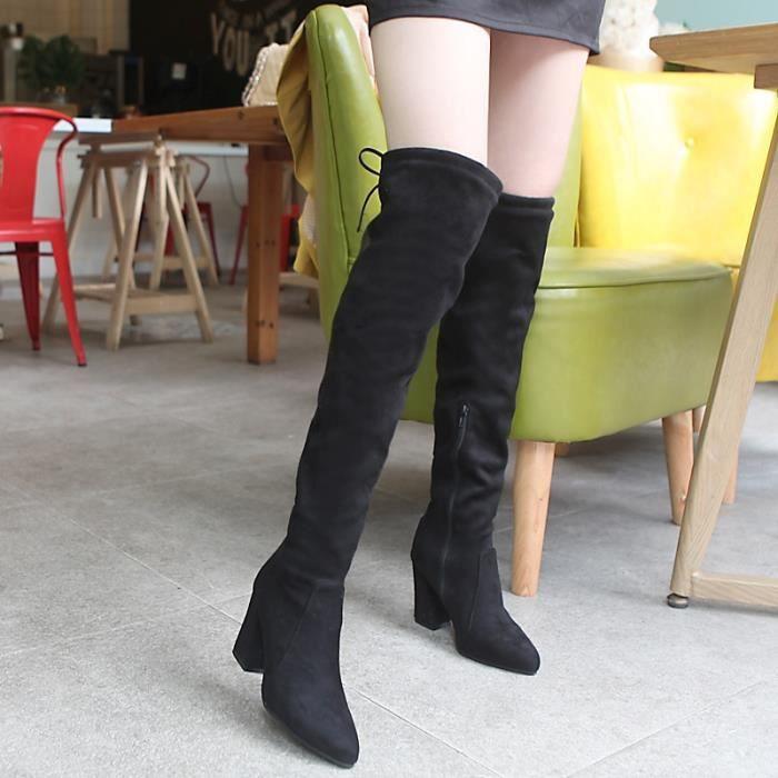 2017 taille plus nouvelle mode des talons chunky de haute qualité surface mate belles bottes femmes chaussures,noir,12.5