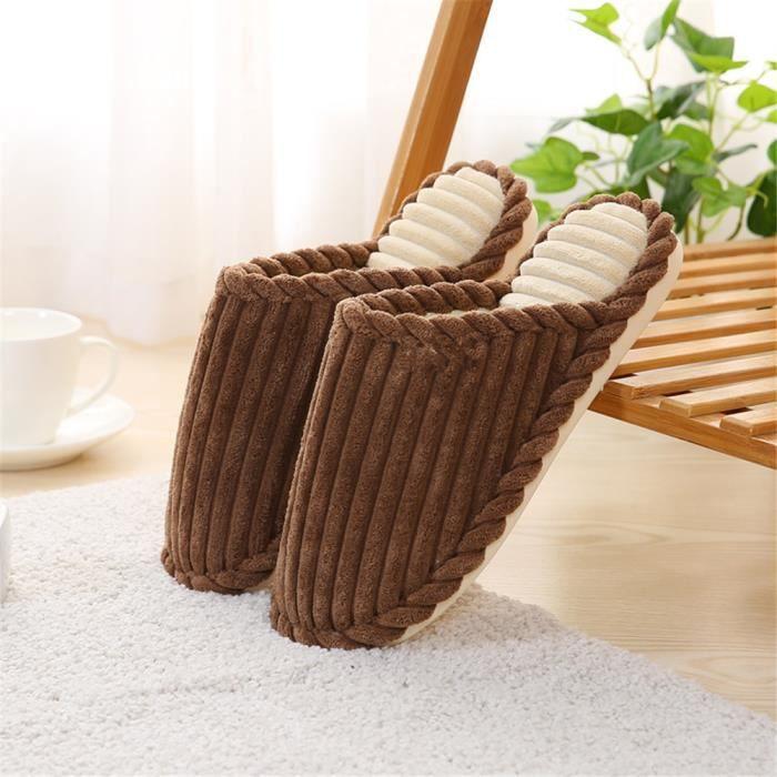 chaussons Antidérapant de pantoufle Mode marque Haut chaud hiver Classique luxe hommes qualité peluche homme maison chausson qqwfUa