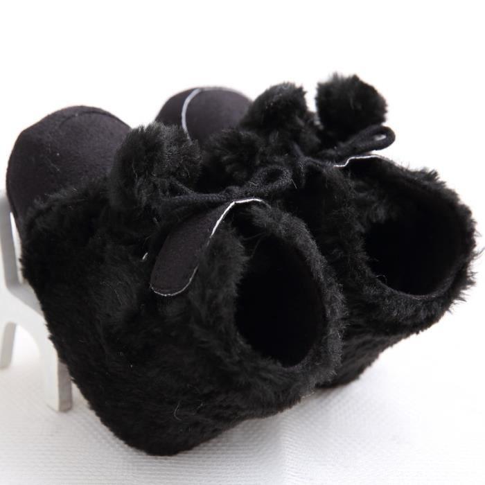 Noir-Nouveau Hiver Chaussures de bébé Fond mou Loisirs Garde au chaud Bottes de neige Chaussures de bébé