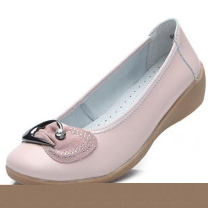 Chaussures Femme Cuir Classique Comfortable Chaussure BMMJ-XZ047Rose36