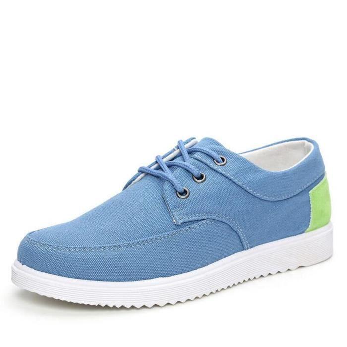 Chaussures En Toile Hommes Basses Quatre Saisons Populaire BYLG-XZ112Bleu40