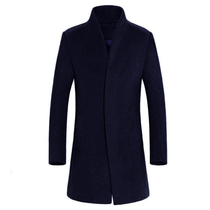 8f80eee9a017f Veste homme chaud hiver Trench long Outwear Smart Button Pardessus ...