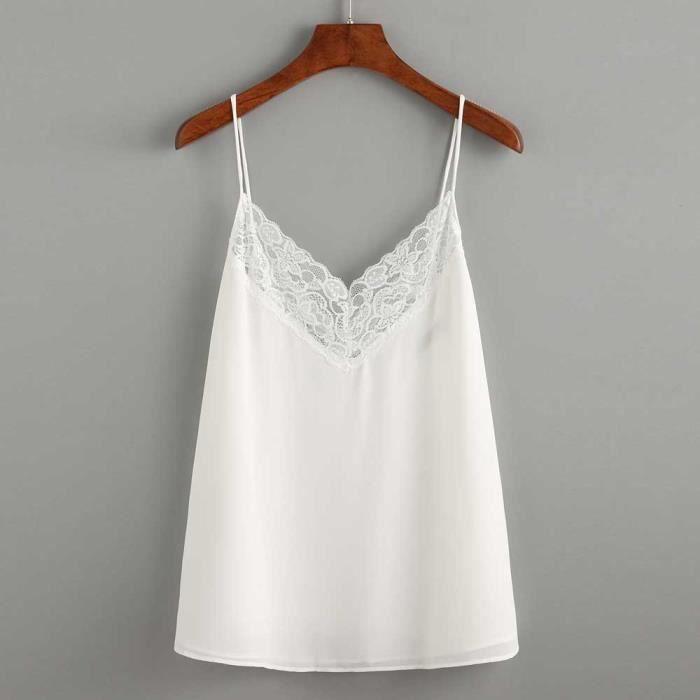 Crop Chemisier Caraco Réservoir Casual Femmes Manches blanc Top Gilet E6v6wq