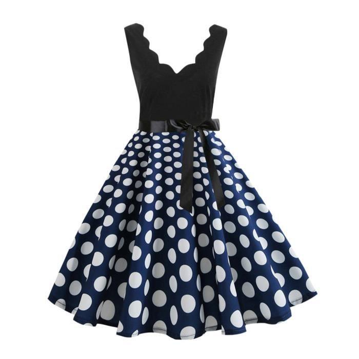 Manches Vintage Mi Mode longue bleu Robe Dot Imprimer Femmes Évasée TpaISqxqw