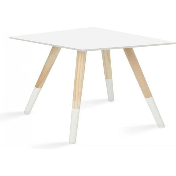 Blanc Basse Bois Split Carree Table Pieds DYWEH92I