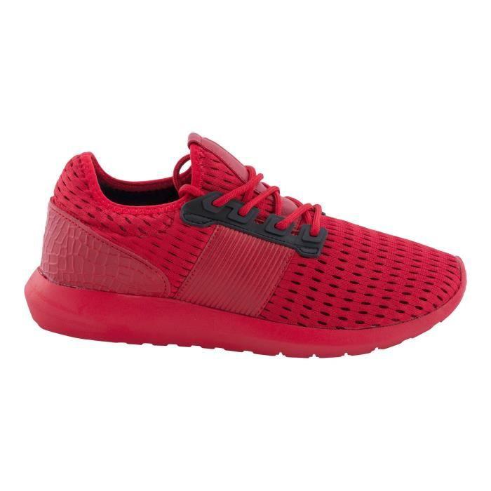 TAMBOGA Hommes Low Sneakers chaussures de course plat Chaussures de sport noir en dentelle WM3Pio7Tg7