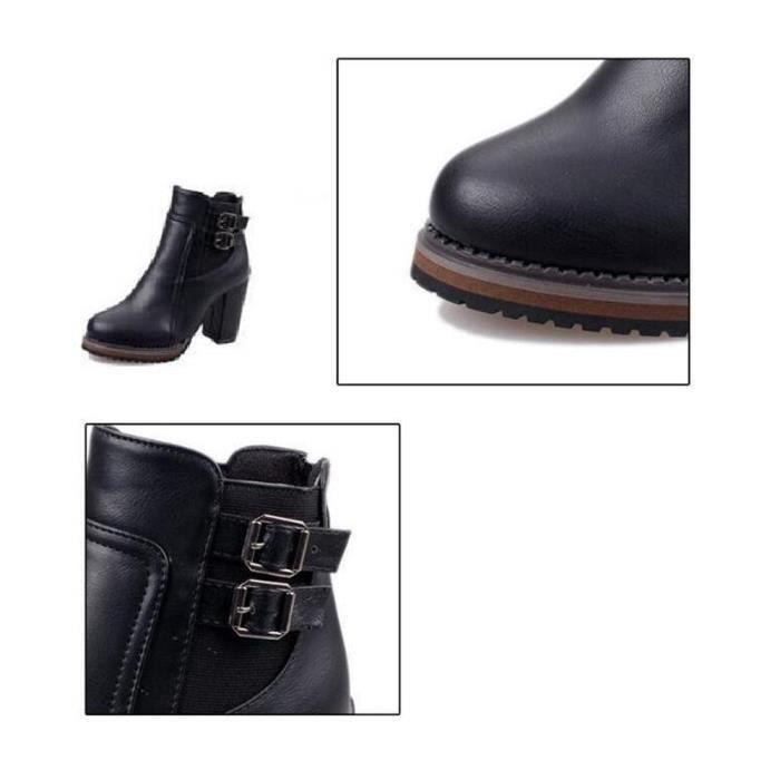 Femme Bottes Talons Elégant Classique Hiver Botte Garde Au Chaud Couleur unie Qualité Supérieure Rétro Chaussure Taille 35-42