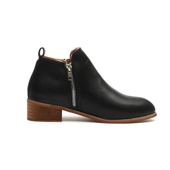 Bottillons Femmes Dames Bottes Bootxmm80730536bk Court Cheville Chaussures Noir Chevalier En Martin Cuir mnwOvN08
