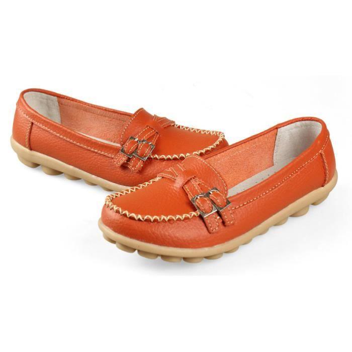 IN-TRAV INDEPENDENT TRAVEL Nouvelles femmes chaussures en cuir veritable chaussures femmes de slip-sur orange US8 = EUR39 =