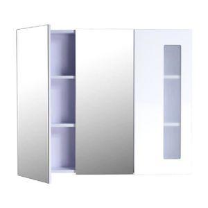 ARMOIRE DE TOILETTE Armoire avec miroir en bois rangement salle de bai