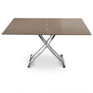 TABLE BASSE Table basse relevable Carrera XL Taupe laqué