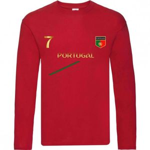 35efd2b34bea8 Tee shirt manches longues Foot enfant Portugal rouge Taille 3 à 14 ...
