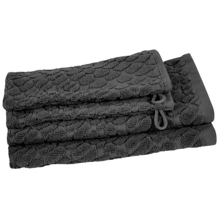 VENT DU SUD Ensemble 2 serviettes invité + 2 gants THALIA - 30x50 cm - Gris ardoise