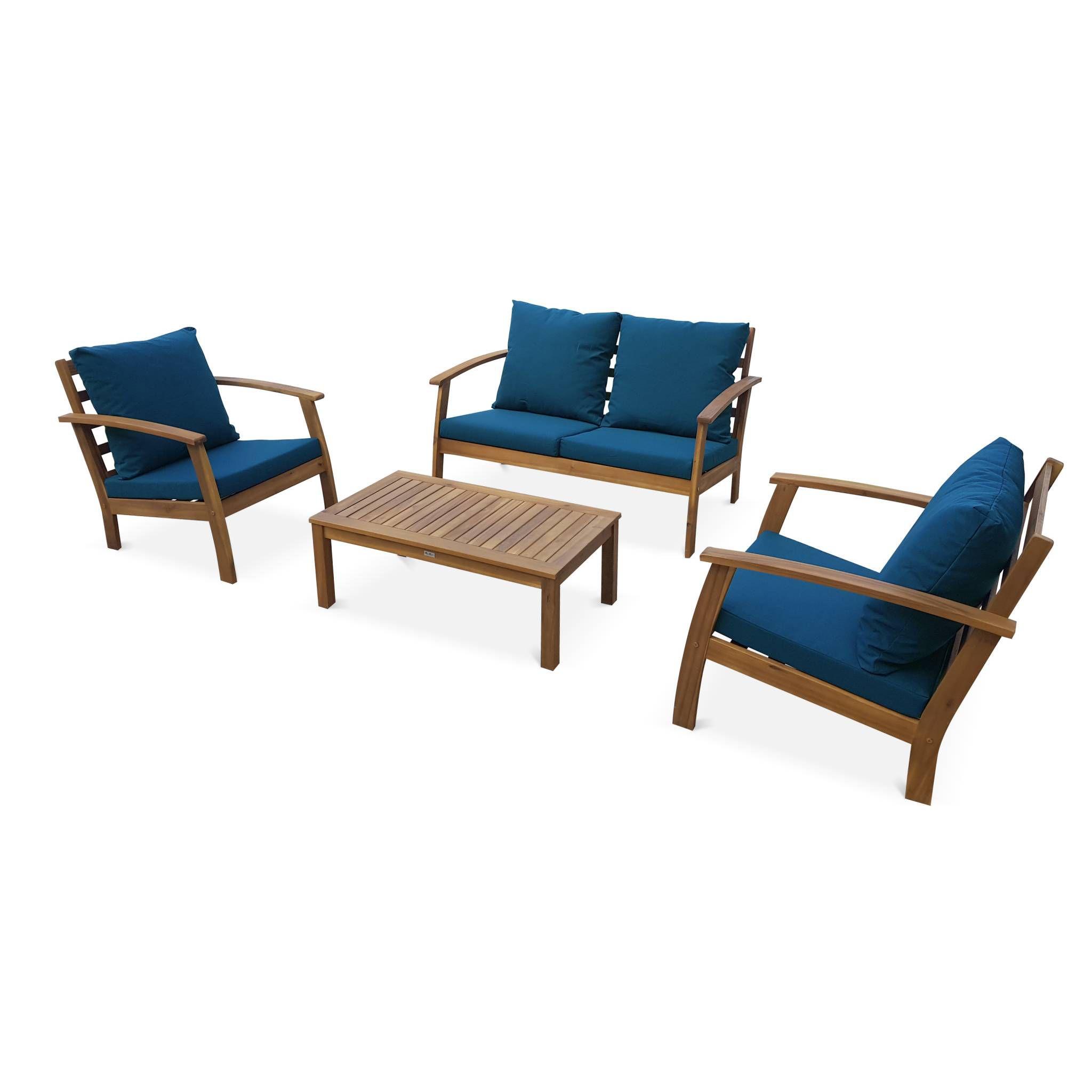 Salon de jardin en bois 4 places - Ushuaïa - Coussins bleu ...