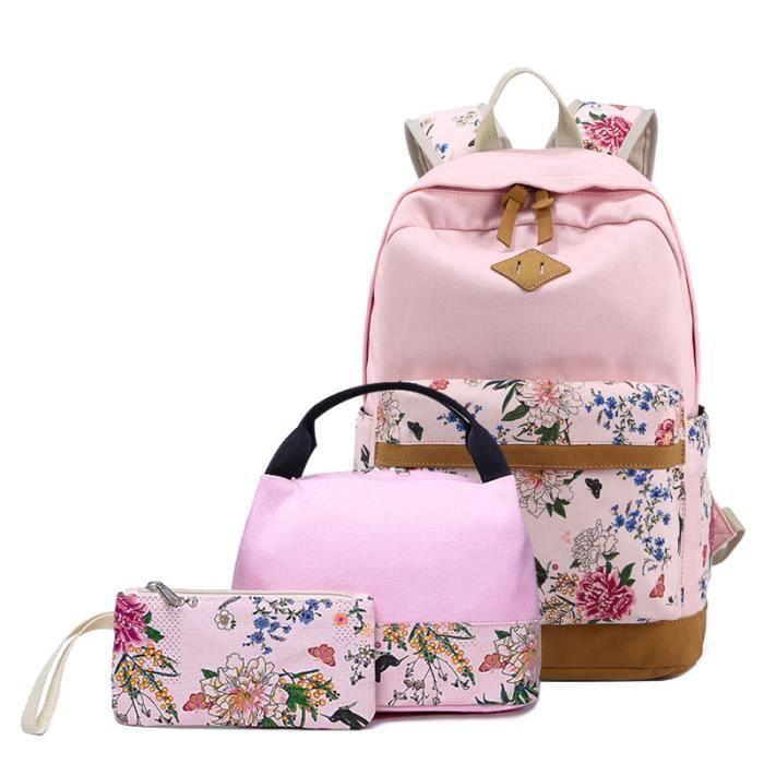 Sac à dos scolaire+sac à main+porte-monnaie 3 pièces enfant fille ensembles imprimé lycée en toile Rentrée Rose bonbon