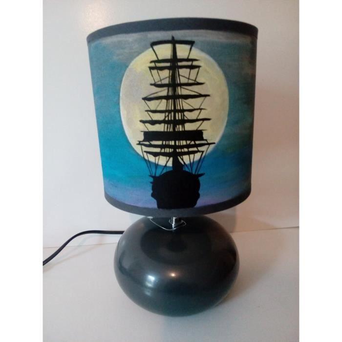 Peint Bateau Voilier Main Chevet Lampe De m8wNn0