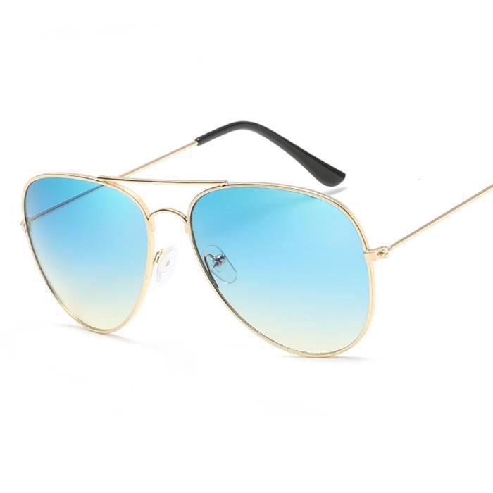 Lunettes de soleil mixte homme et femme Magnifique Métal Cadre sunglasses marque de Luxe Golden/Bleu/Jaune