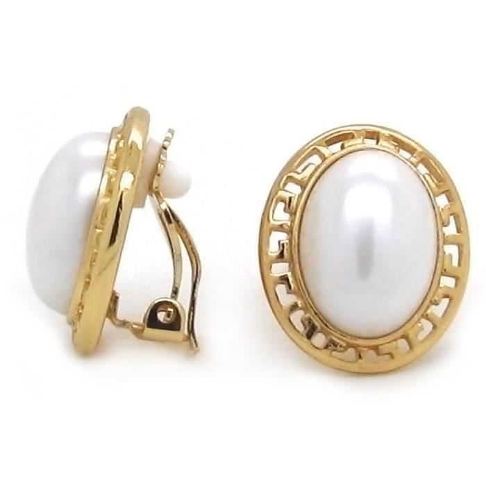 Womens Clip On Earrings Simulated Pearl Oval Greek Key Gold Plated Fashion CLSP9
