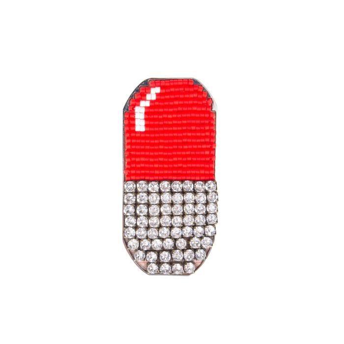 Womens Round Clear Crystals Emojibling Pill Brooch HS63H