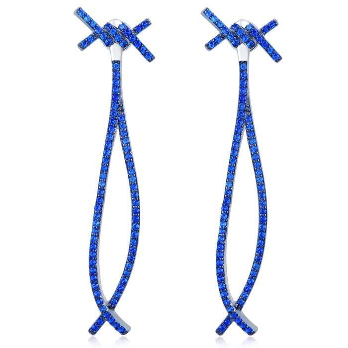 MBLife Infini Noeud Boucles doreilles à tige Femme Argent Sterling 925 Plaqué Noir Bleu CZ Cadeau Bijoux