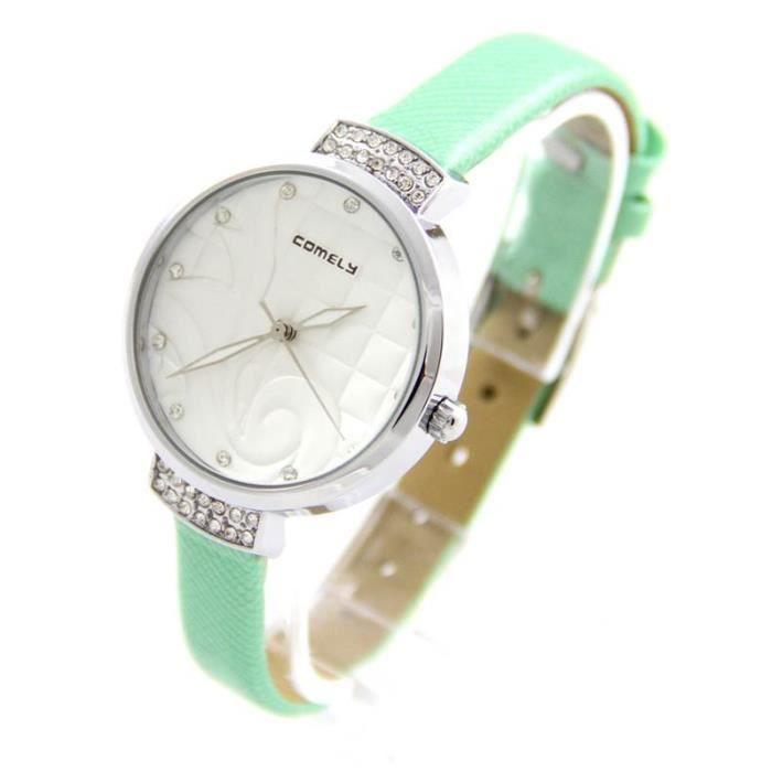 Montre Femme Cuir Vert Arabesque COMELY 1507 , - Achat vente montre ... f32d0ca47a2