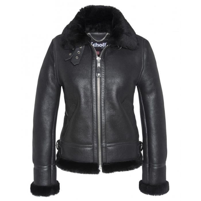 vestes bombardier femme schott noir noir noir achat vente veste cdiscount. Black Bedroom Furniture Sets. Home Design Ideas