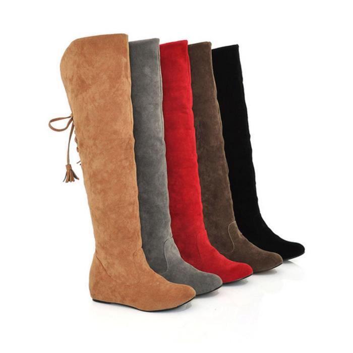 Bottes D'hiver Peluche Daim Pour Femmes Hautes En Sjf71206731 Confortables 1001 6w6qfxErd