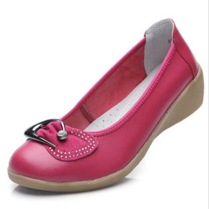 Chaussures Femme Cuir Casual Comfortable Chaussure BDG-XZ047Rouge37