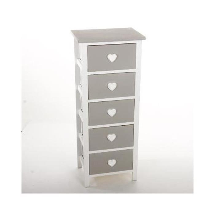 Chiffonnier en bois massif gris 5 tiroirs blanc h90 x p27 x l37 cm achat vente chiffonnier - Chiffonnier blanc 5 tiroirs ...