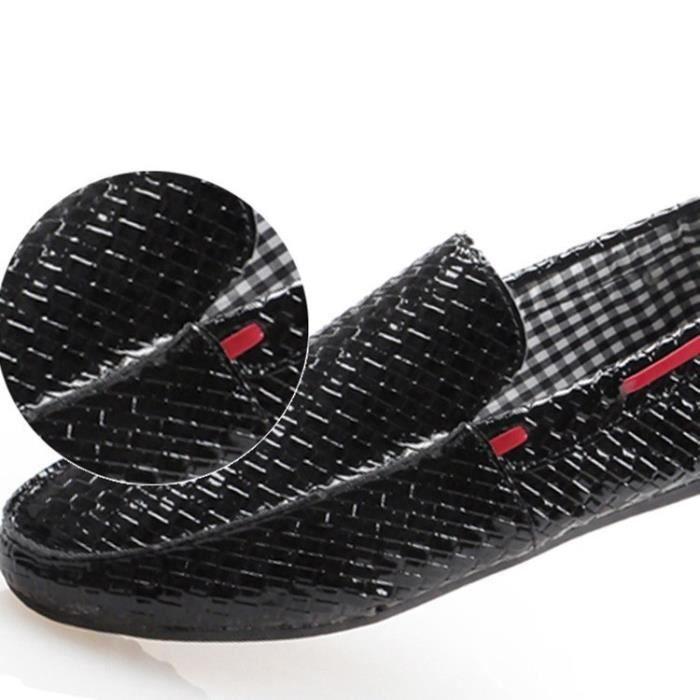Nouvelle mode en cuir véritable homme Mocassins Flats Chaussures Hommes Casual Chaussures de conduite Respirant,blanc,44