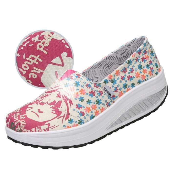 XZ087Jaune36 Femmes fond Chaussures Mode Detente BYLG épais Classique Chaussure TWxPpFx