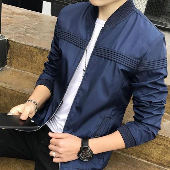 M Homme Outwear Longue Manteau Baseball Veste Xl Pardessus Jacket Zipper L Manche Bleu Blouson v0gqYd