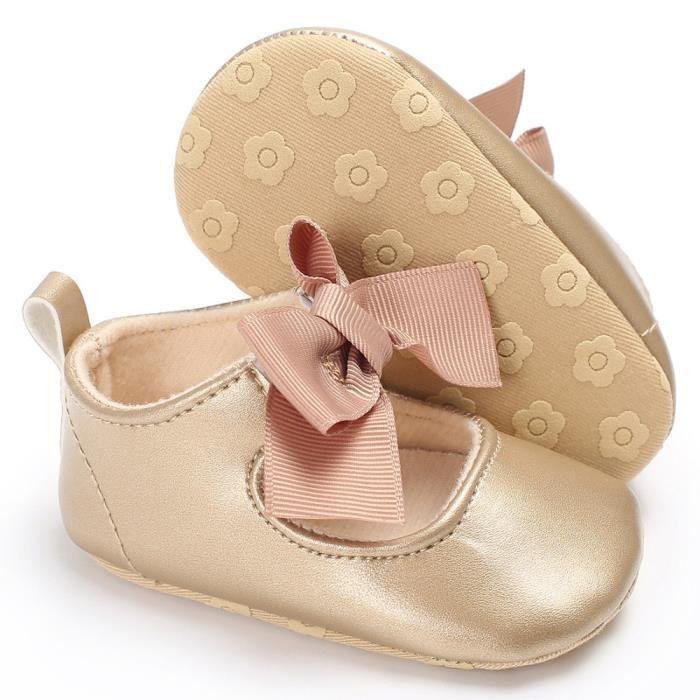 Bébé bowknot princesse semelles sneakers tout-petits chaussures occasionnelles kaki G8IYC
