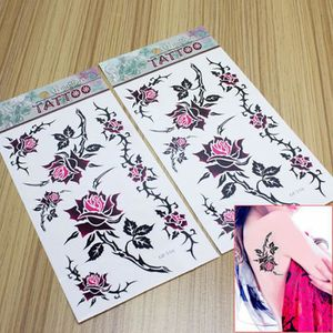 TATOO - BIJOU DE CORPS  Rose Fleur Conception Étanche Tatouages Temporair