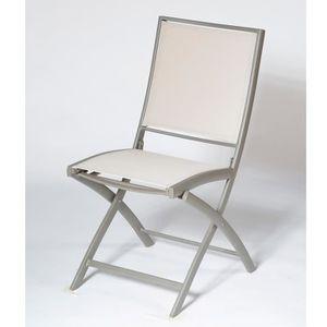 CHAISE Chaise en aluminium et toile PVC tissée pliante co