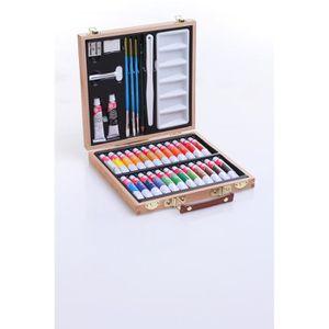 KIT PEINTURE Mallette d'artiste en bois 35 pièces