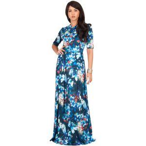 ROBE longue robe d'été fluide à manches courtes pour fe
