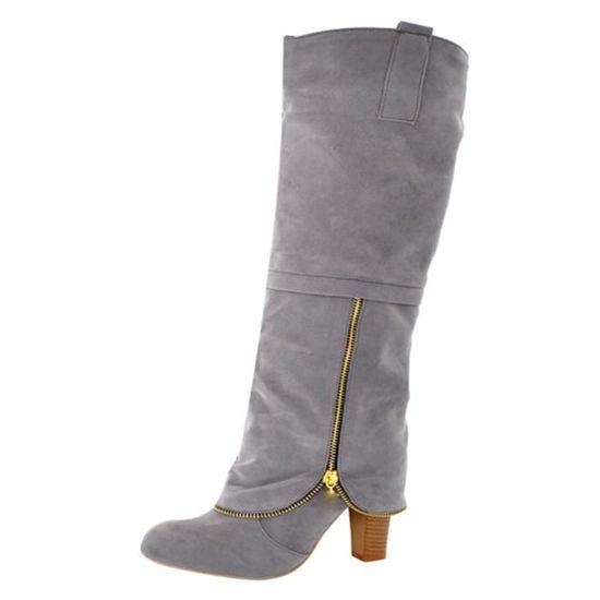 Banconre®Femmes Chaussures tête ronde Anti-Slip Zipper genou talons. haute carrés Bottes à talons. genou ZHQ80904353GY40 Gris Gris Gris - Achat / Vente slip-on 330b74