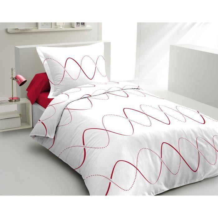 LOVELY HOME Parure de couette Coton COURBE Rouge 140x200cm